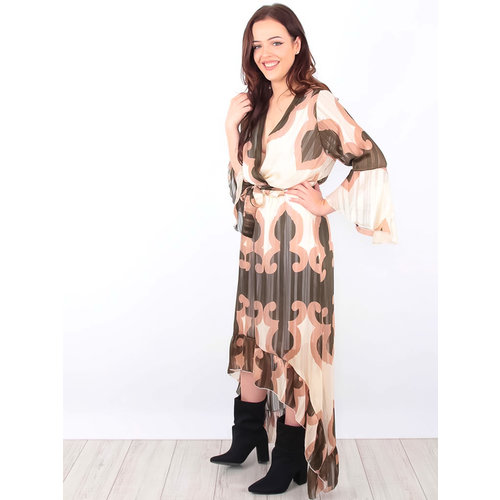TROIS KA Waterfall Maxi Dress Gold