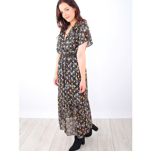LADYLIKE FASHION Floral Print Maxi Dress Black