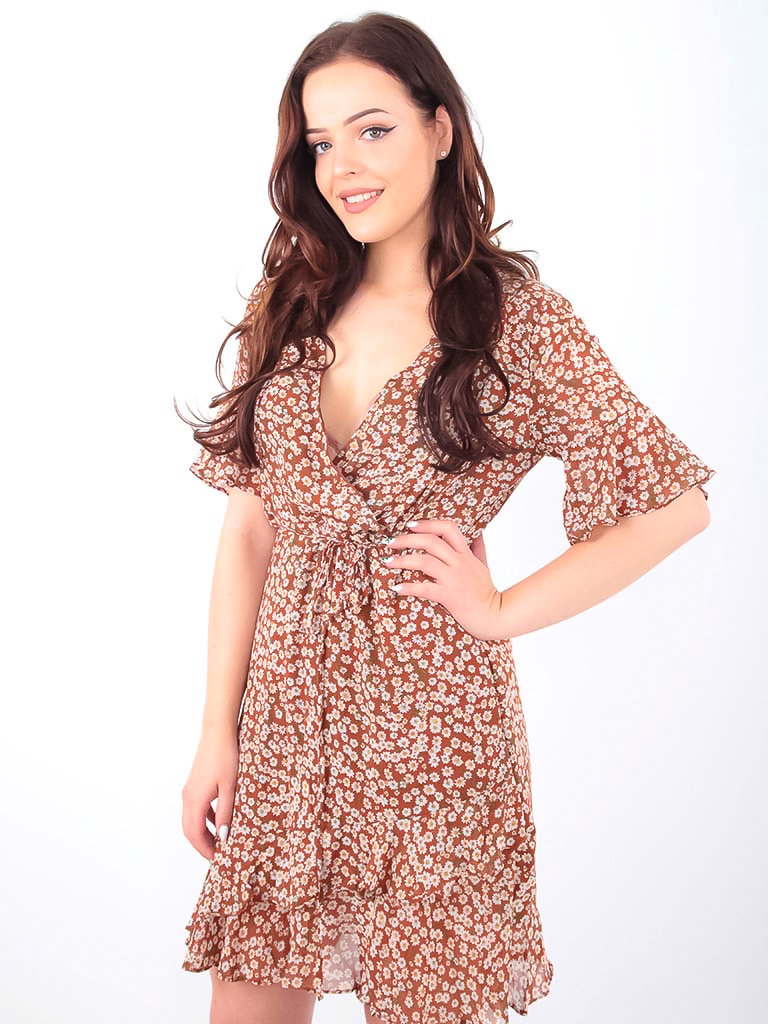 BY CLARA - LADYLIKE FASHION Little Floral Print Dress Brown