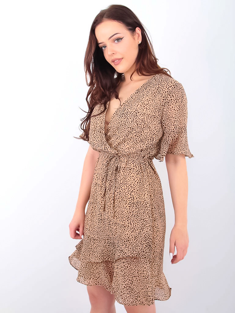 LADYLIKE FASHION Little Dots Wrap Dress Beige
