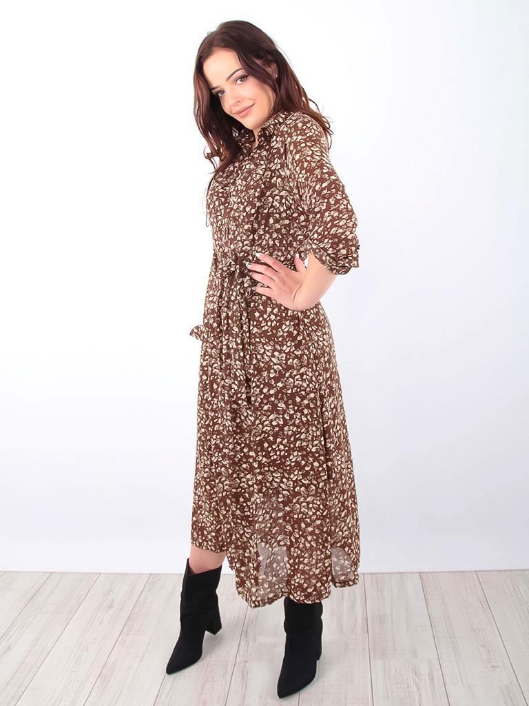 LADYLIKE FASHION Maxi Shirt Dress Gold Detail Brown