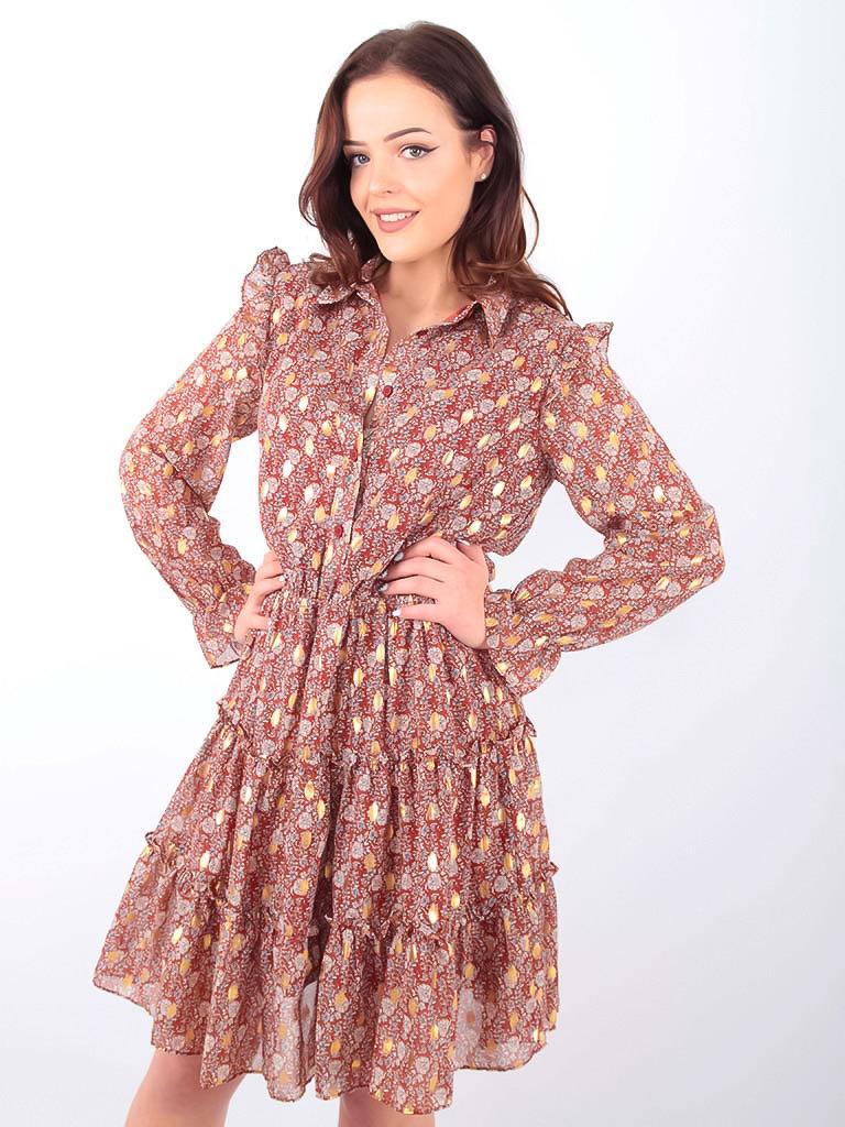 DRŌLE DE  COPINE-  LADYLIKE FASHION Floral Print Shirt Dress Brown
