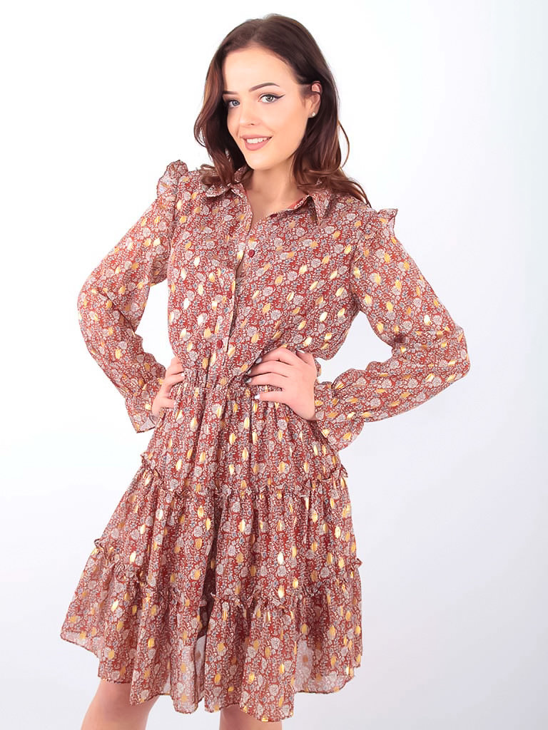 LADYLIKE FASHION Floral Print Shirt Dress Brown