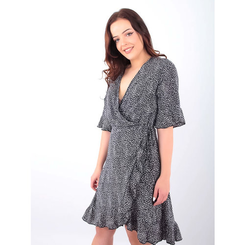 BY CLARA Little Dots Wrap Dress Black