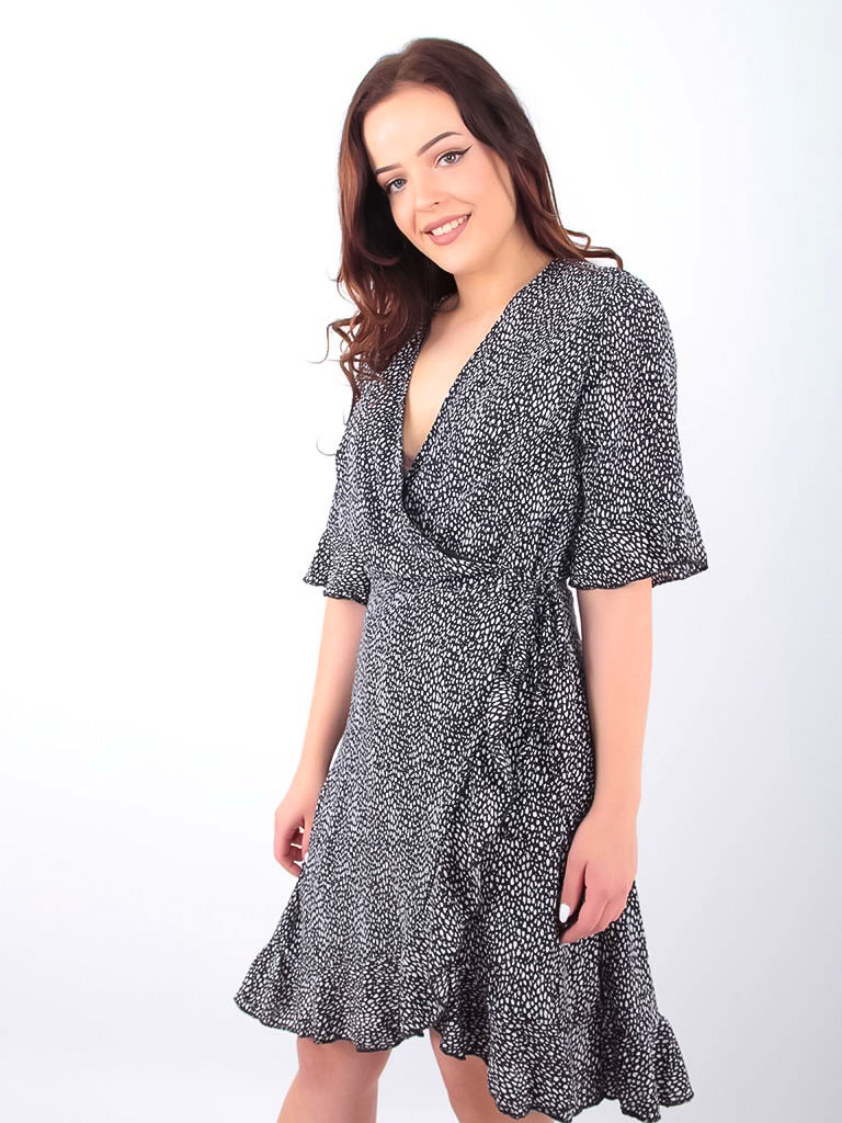 BY CLARA - LADYLIKE FASHION Little Dots Wrap Dress Black