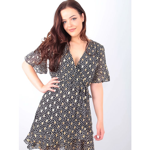 BY CLARA Gold Printed Wrap Dress Black