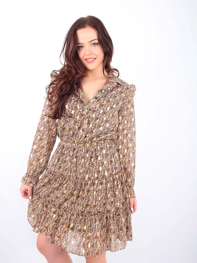 DRŌLE DE  COPINE-  LADYLIKE FASHION Floral Print Shirt Dress Gold