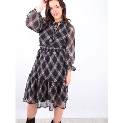 MISSKOO Tartan Printed Dress Blue