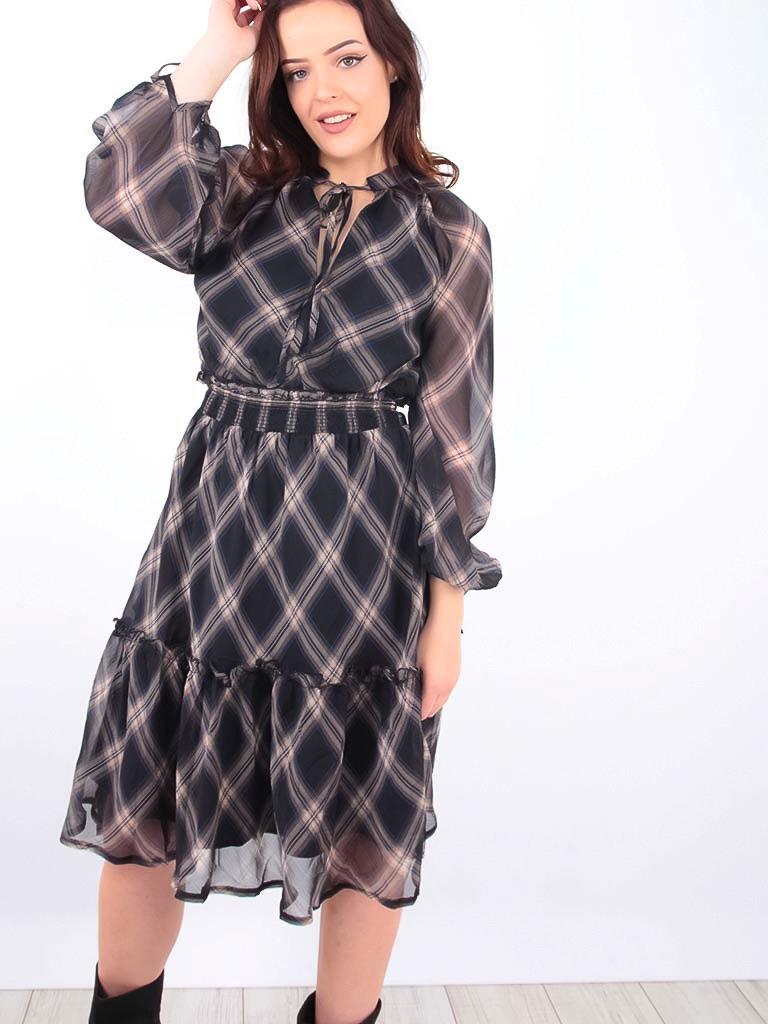 MISSKOO - LADYLIKE FASHION Tartan Printed Dress Blue