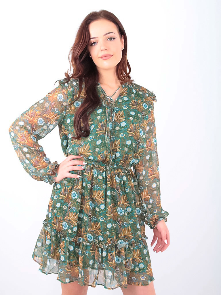 Drôle de Copine Floral Leaf Print Dress Green