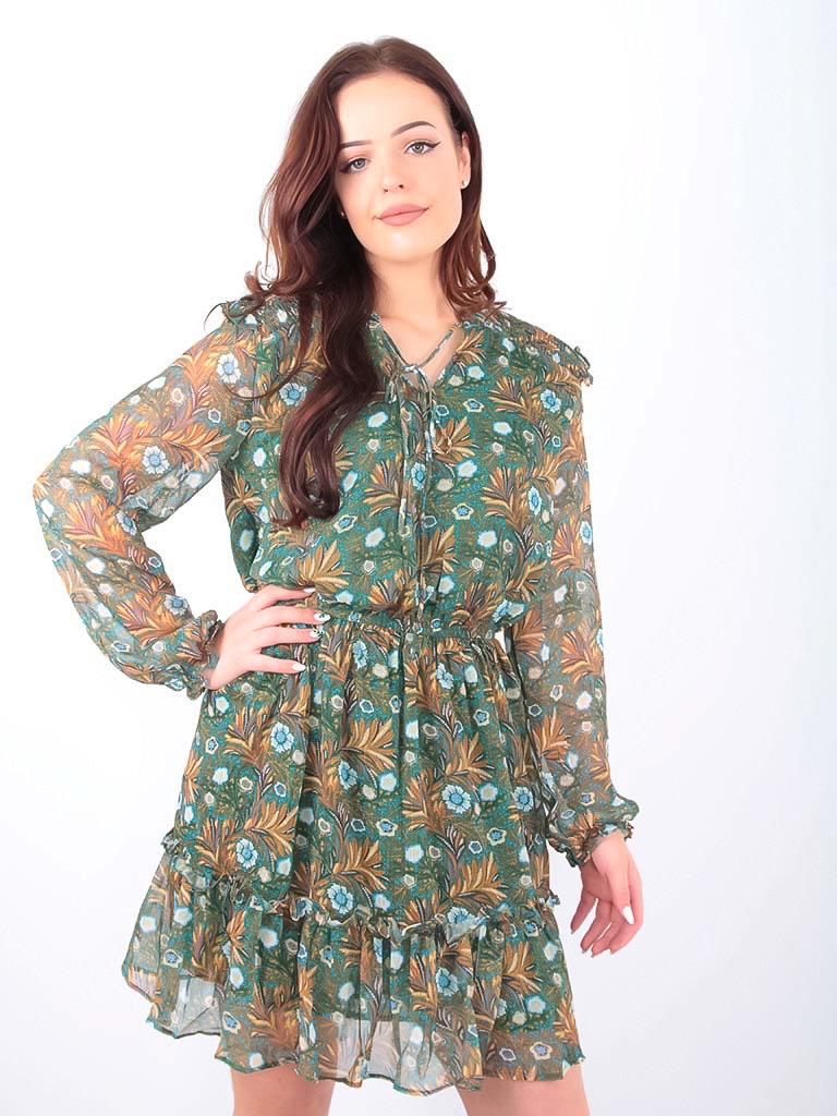 DRŌLE DE  COPINE-  LADYLIKE FASHION Floral Leaf Print Dress Green