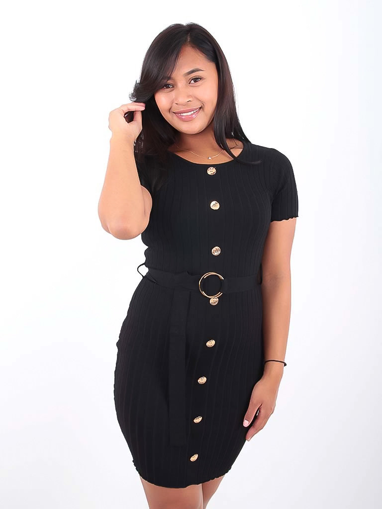 LADYLIKE FASHION Knitted Dress With Belt Black