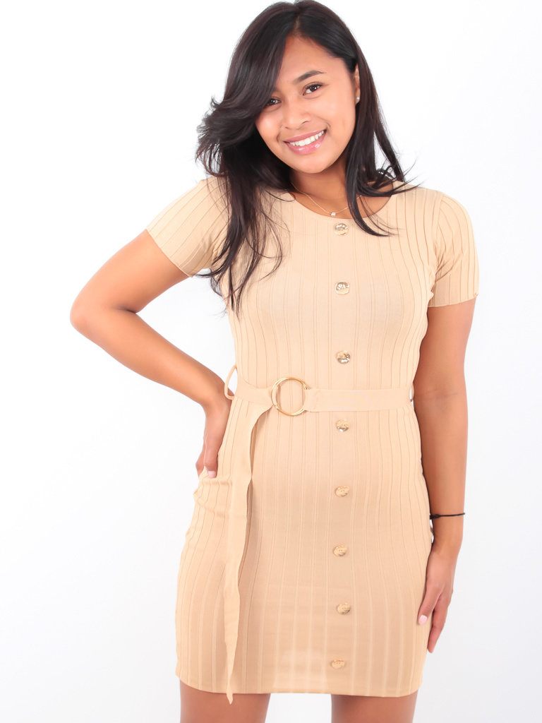 LADYLIKE FASHION Knitted Dress With Belt Beige