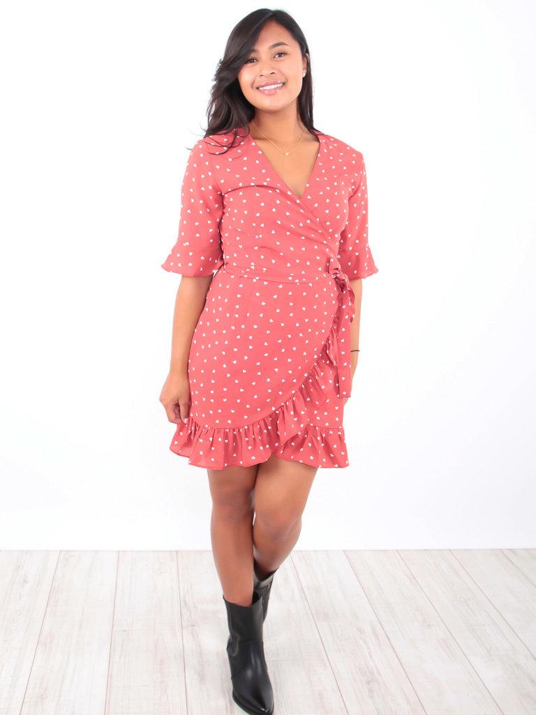 LADYLIKE FASHION Hearts Print Wrap Dress Red