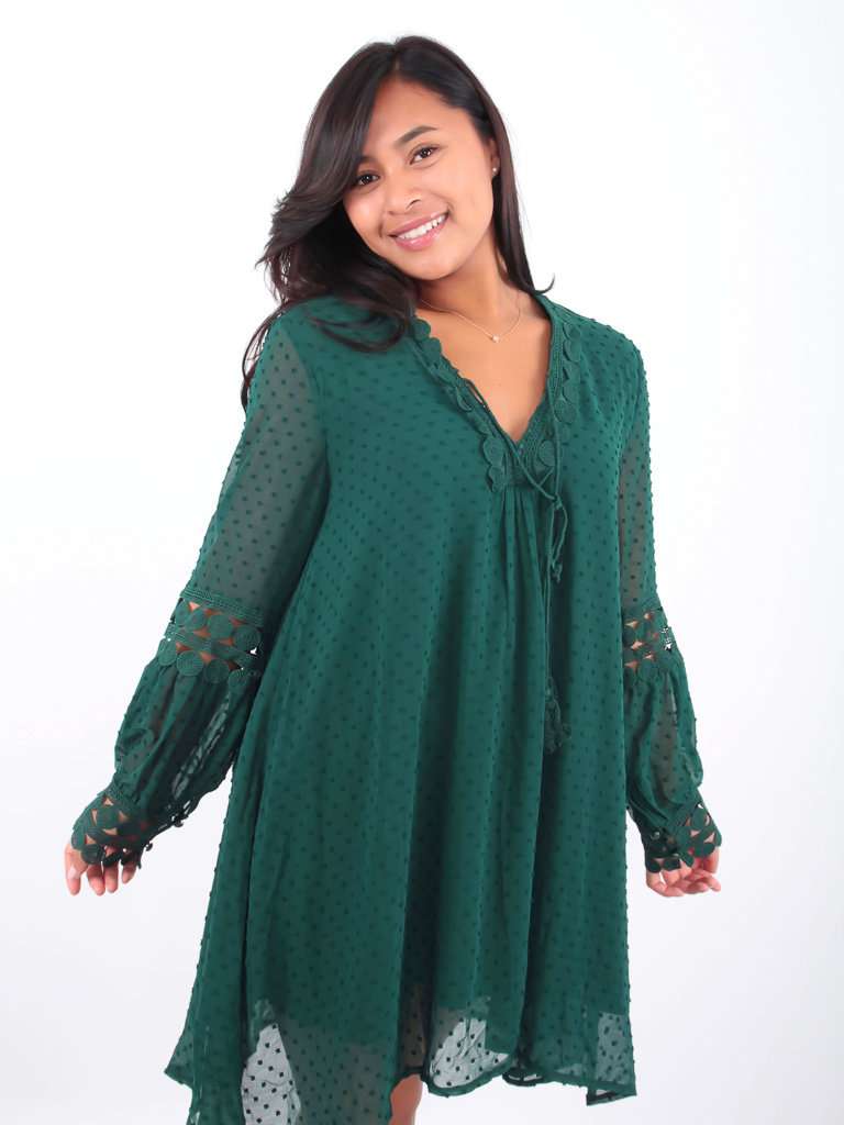 VINTAGE DRESSING Long sleeve dress green dots
