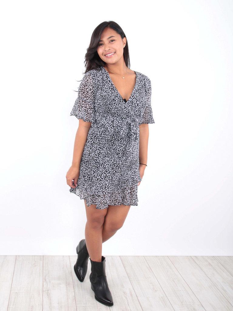 BY CLARA - LADYLIKE FASHION Small Leopard Print Ruffle Dress Black