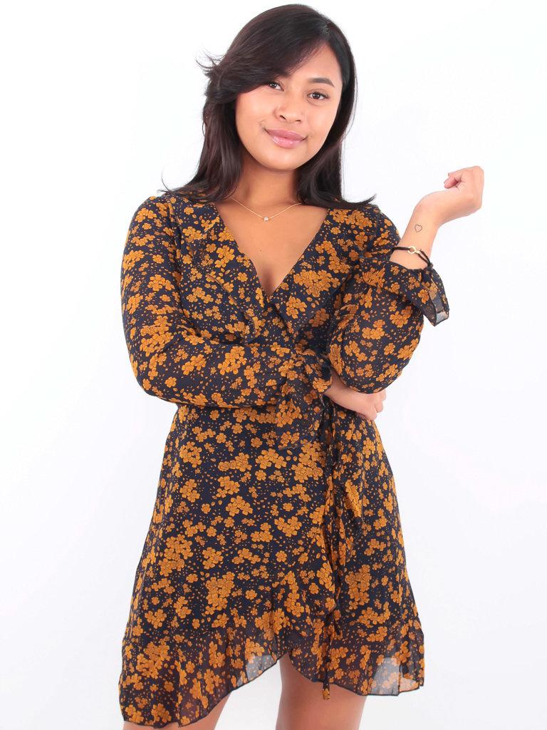 BY CLARA LADYLIKE FASHION Ruffled Wrap Flower Dress Darkblue