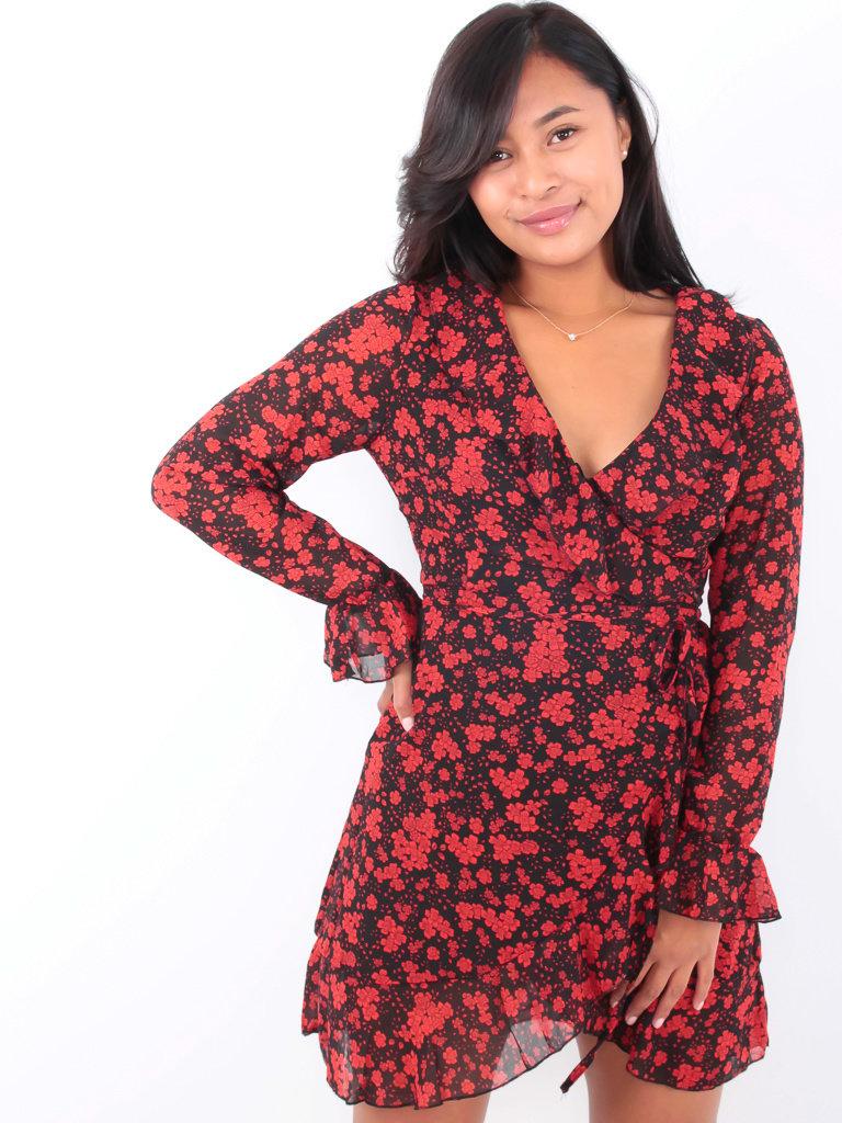 BY CLARA - LADYLIKE FASHION Ruffled Wrap Flower Dress Black