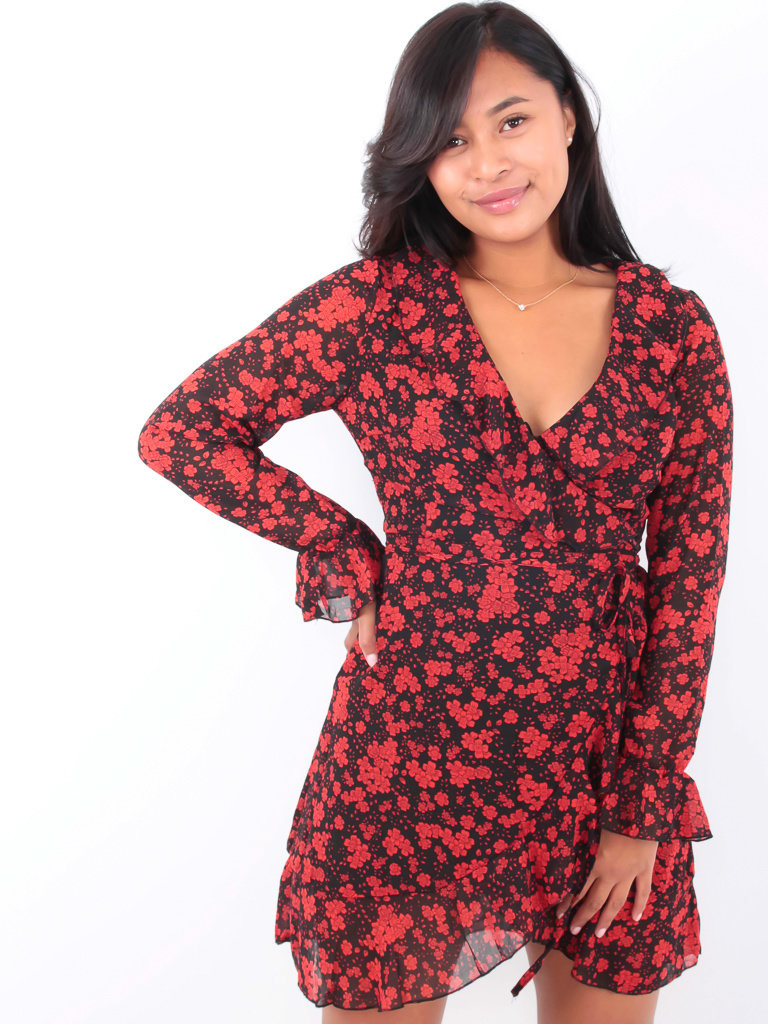 BY CLARA Ruffled Wrap Flower Dress Black
