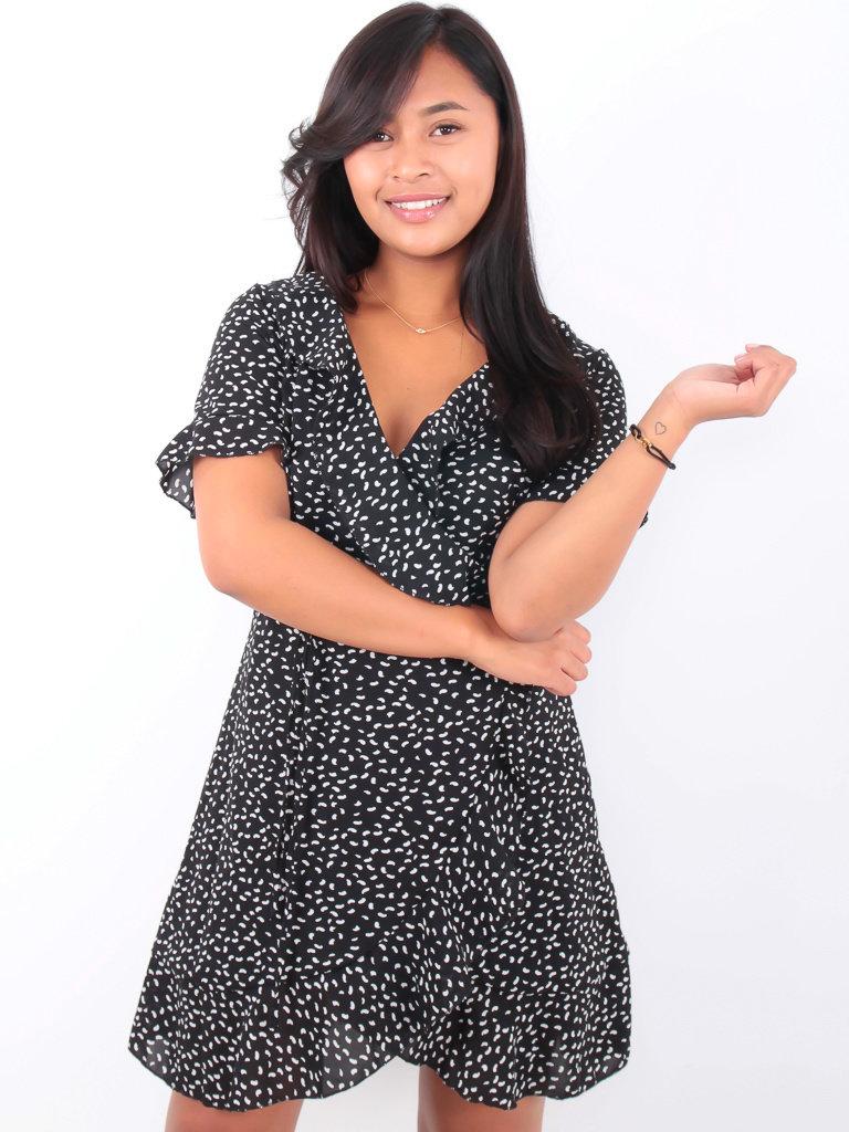 BY CLARA Wrap Dress Ruffled Neckline Black