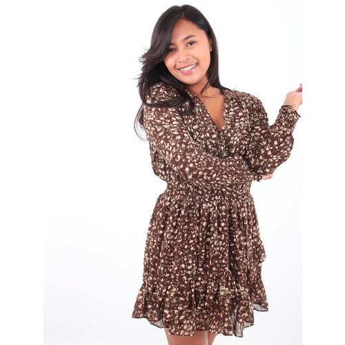 Ivivi Ruffle Dress Leopard Print Brown