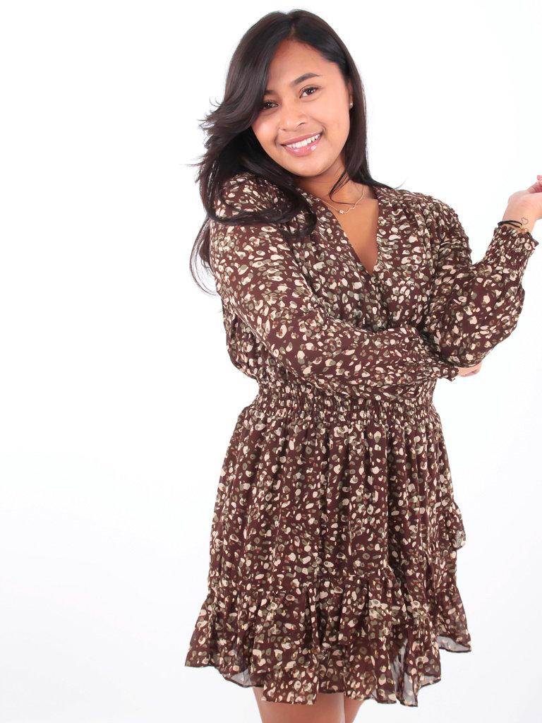 IVIVI - LADYLIKE FASHION Ruffle Dress Leopard Print Brown