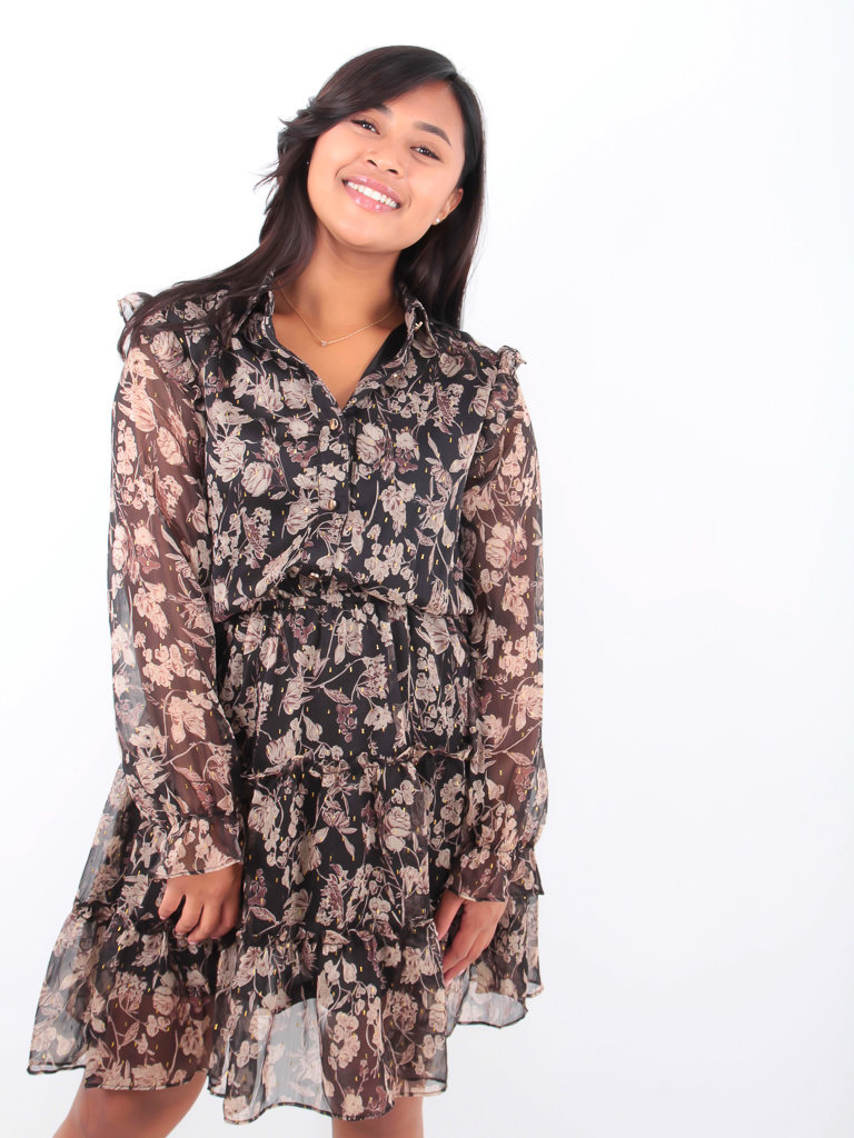 DRŌLE DE  COPINE-  LADYLIKE FASHION Floral Dress Black Long Sleeve