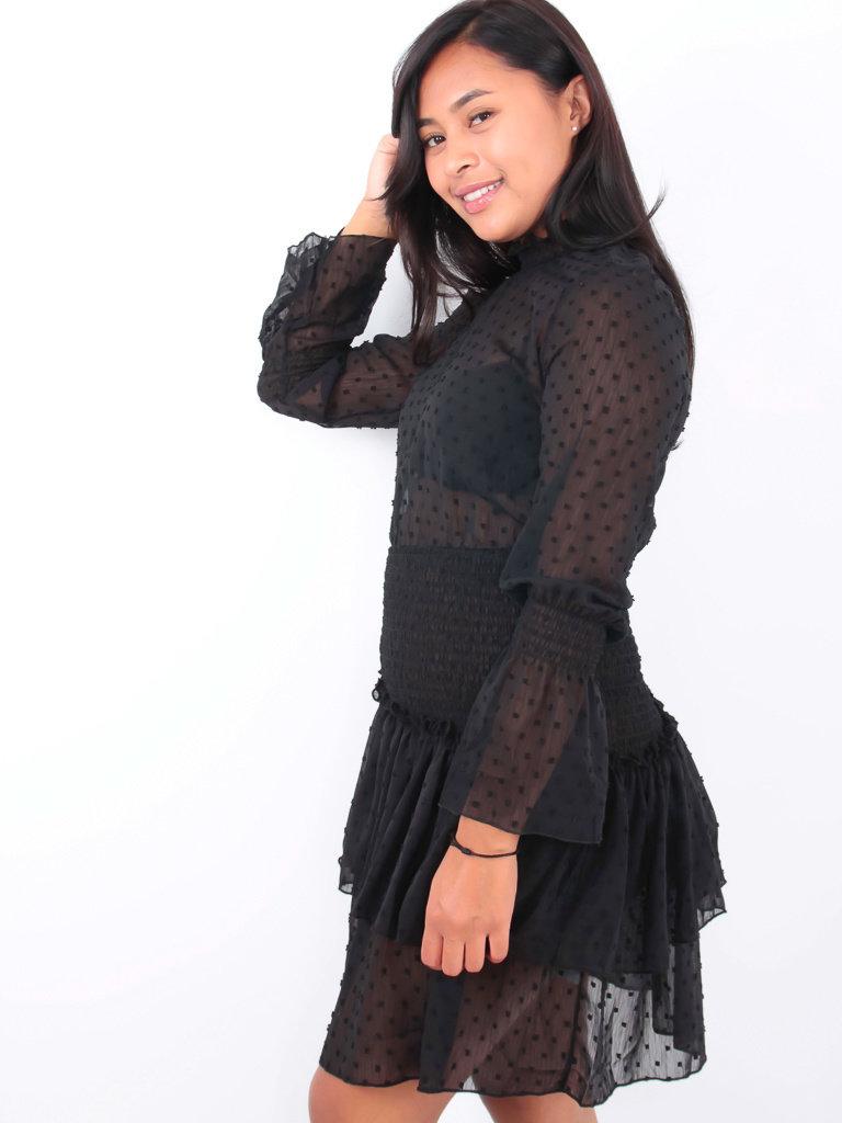 LADYLIKE FASHION Sheer Dress Dot Detail Black
