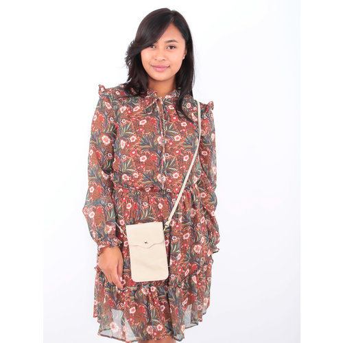 Drôle de Copine Floral Leaf Print Dress Brown