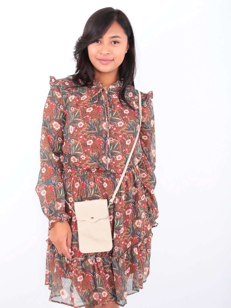 DRŌLE DE  COPINE-  LADYLIKE FASHION Floral Leaf Print Dress Brown