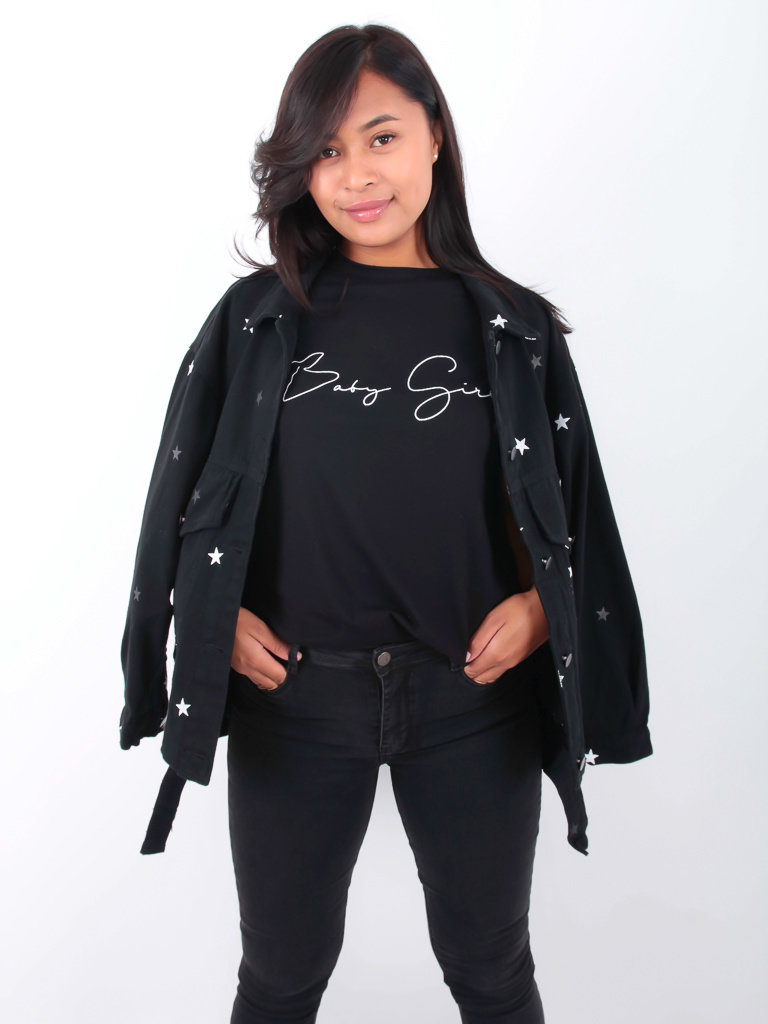 KAYCEE - LADYLIKE FASHION Star Denim Jacket Black