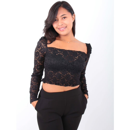 BISOU'S PROJECT - LADYLIKE FASHION Broderie Anglais Long Sleeve Crop Top