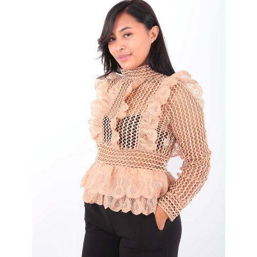 MAY Lace Blouse Camel