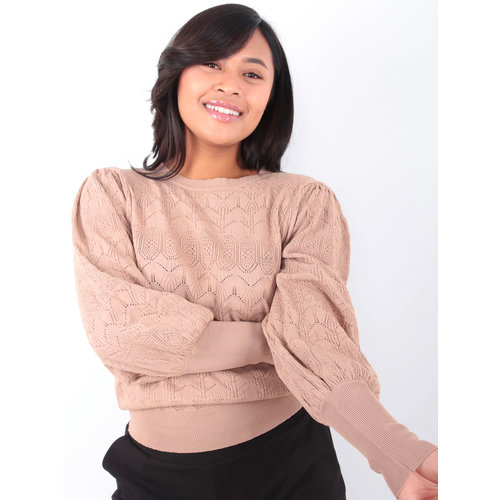 LADYLIKE FASHION Knit Jumper Puffy Sleeves Camel