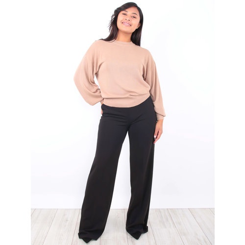 LADY LOL Wide Leg Trousers Black
