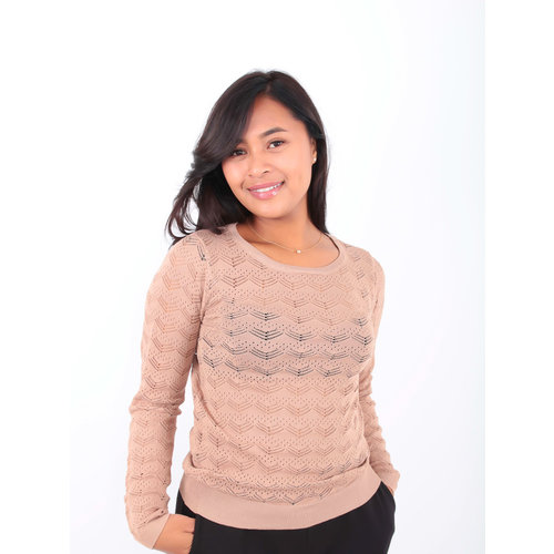 BY CLARA Lace Knitted Jumper Beige
