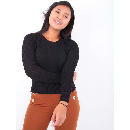 May Short Cable Knit Jumper Black