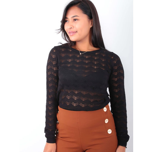 BY CLARA Lace Knitted Jumper Black