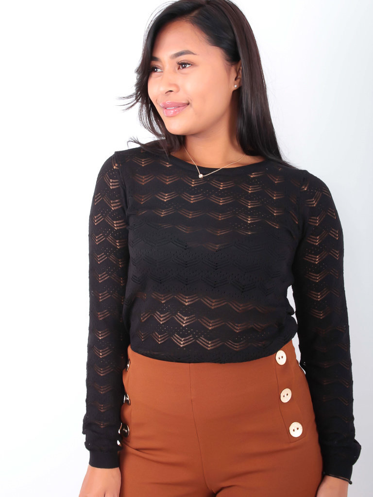BY CLARA - LADYLIKE FASHION Lace Knitted Jumper Black