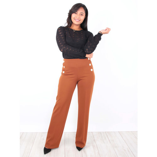Lady lol Wide Leg Trousers Brown Gold Button