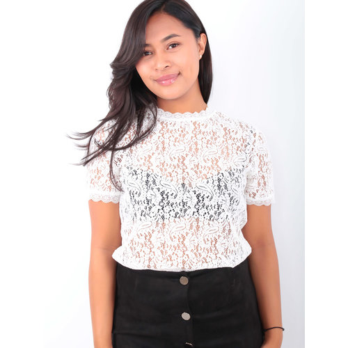 EIGHT PARIS Lace Shirt White