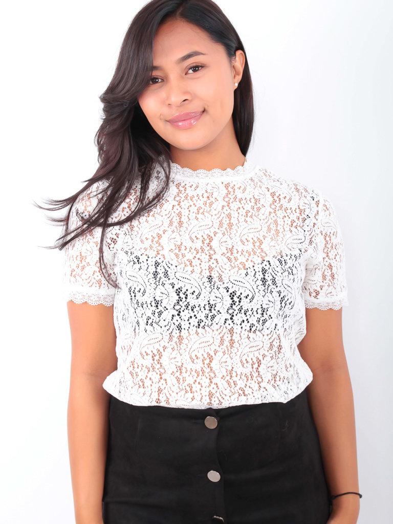 EIGHT PARIS - LADYLIKE FASHION Lace Shirt White
