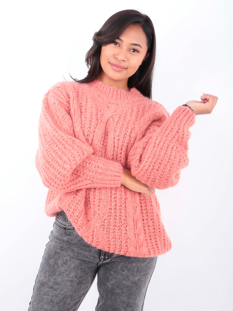 LADYLIKE FASHION Cable Knit Jumper Old Rose