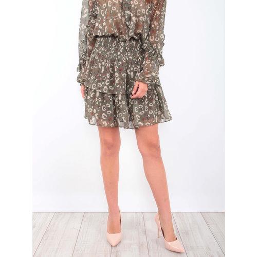 Drôle de Copine Leopard Print Ruffle Skirt Green