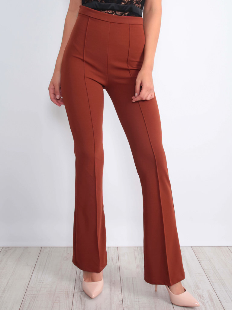 IVIVI - LADYLIKE FASHION Flared Trousers Brown