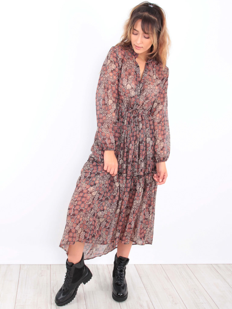 KILIBBI Floral Ruffled Maxi Dress Brown