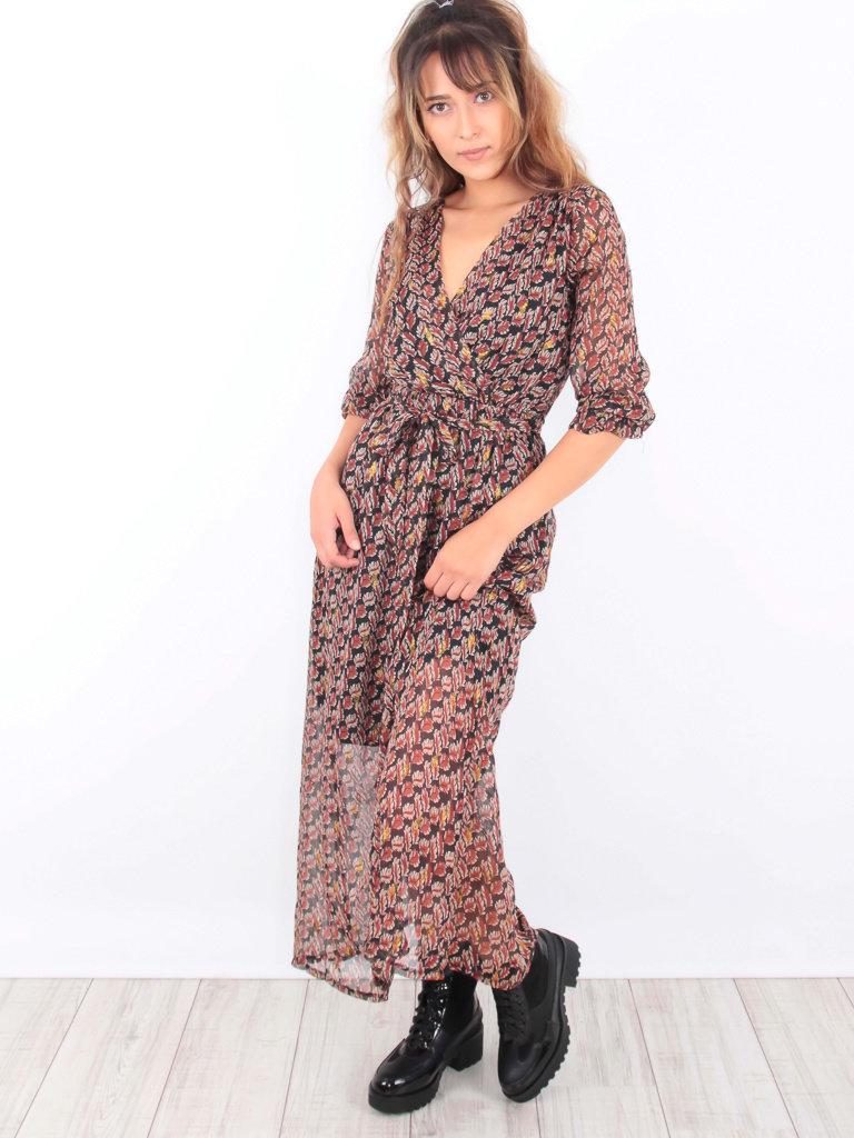 LADYLIKE FASHION Maxi Ruffled Dress Gold Leaves Print Brown