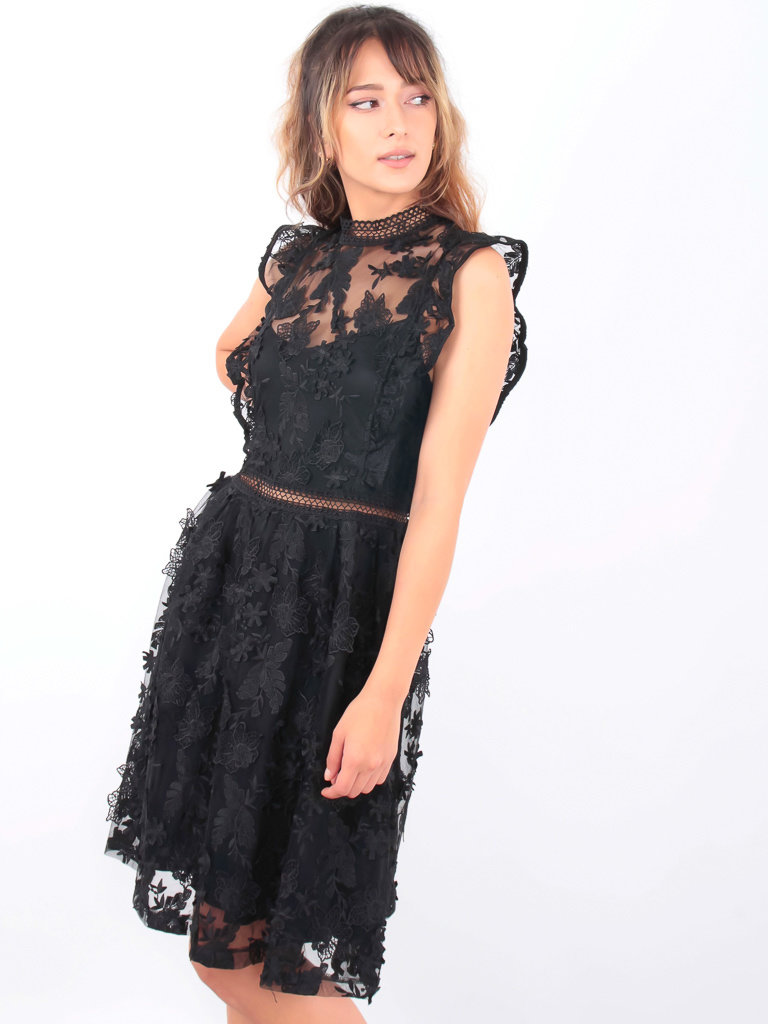 VERA & LUCY Tulle Skater Dress With Flowers Black