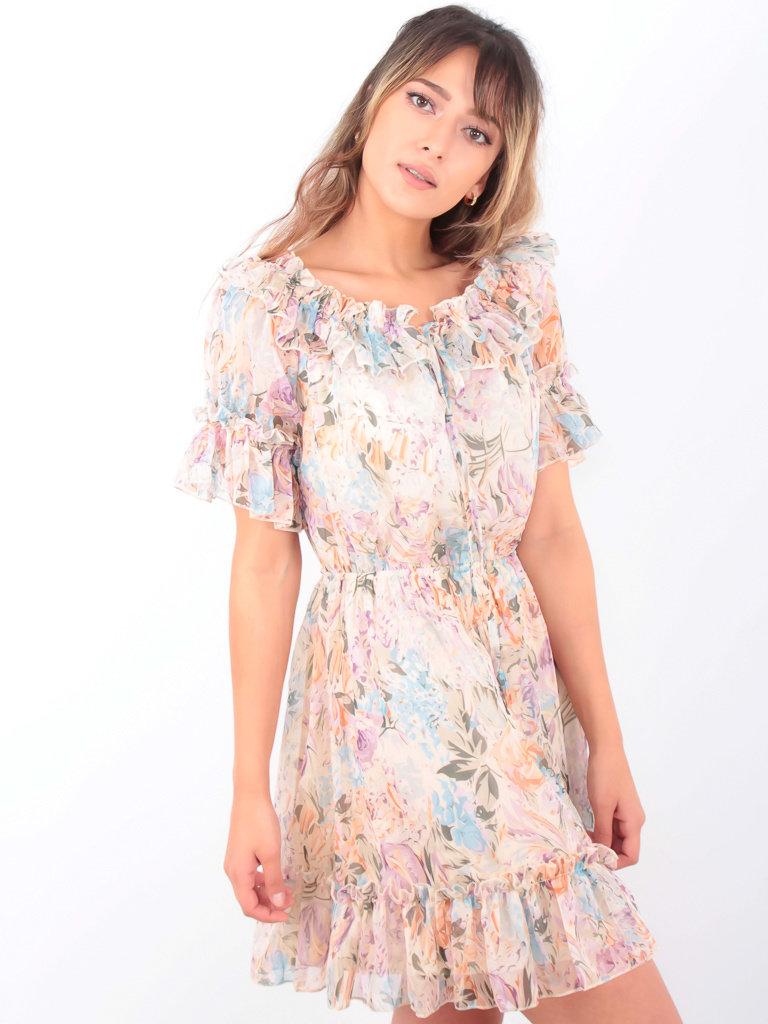 LADYLIKE FASHION Bardot Pastel Floral Print Dress Beige