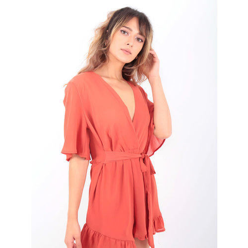 LADYLIKE FASHION Kimono Sleeve Sheer Loose Playsuit Red